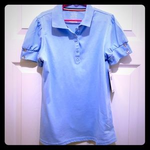 Girls blouse, French Toast,baby blue,size L(10/12)